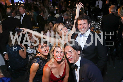 "Beth Kohlhoss, Chris Reed, Michelle Kosinski, Septime Webre, Kimbell Duncan. Photo by Tony Powell. 2017 Washington Ballet ""We Choose the Moon"" Gala. Air & Space Museum. May 12, 2017"