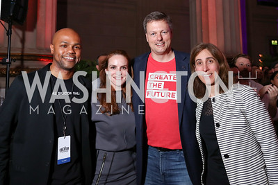 Judges Nasir Qadree, Kate Goodall, Jeff Reid, Jen Berrent. Photo by Tony Powell. 2017 WeWork Creator Awards. Mellon Auditorium. March 28, 2017