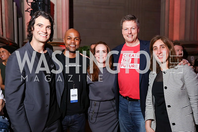 WeWork CEO Adam Neumann, Judges Nasir Qadree, Kate Goodall, Jeff Reid, Jen Berrent. Photo by Tony Powell. 2017 WeWork Creator Awards. Mellon Auditorium. March 28, 2017