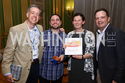 Kevin White, Jonathan Levine, Teri Dankovich, Wade Evans. Photo by Tony Powell. 2017 WeWork Creator Awards. Mellon Auditorium. March 28, 2017