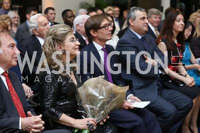 Leo Sahakian, Annie Totah, Germany Amb. Peter Wittig, Armenia Amb. Grigor Hovhannissian and Victoria Hovhannissian. Photo by Tony Powell. 2017 YCA Gala. Residence of Germany. April 6, 2017