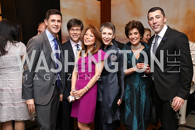 Chase Maggiano, Joel Friedman, Shigeko Bork, Irene Roth, Bonnie Wilson, Chris Maggiano. Photo by Tony Powell. 2017 YCA Gala. Residence of Germany. April 6, 2017