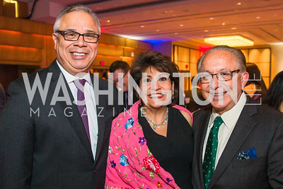 Mauro Albert Morales, Janet Murguía, Mickey Ibarra. Photo by Alfredo Flores. LULAC 20th Annual LULAC National Legislative Awards Gala. Grand Hyatt. February 15, 2017