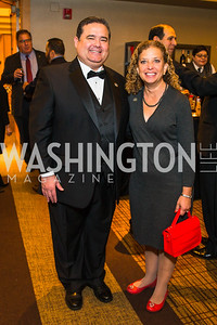 Roger Rocha, Congresswoman Debbie Wasserman Schultz. Photo by Alfredo Flores. LULAC 20th Annual LULAC National Legislative Awards Gala. Grand Hyatt. February 15, 2017