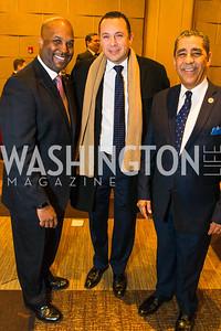 Cid Wilson, Hector Sanchez, Congressman Adriano Espaillat. Photo by Alfredo Flores. LULAC 20th Annual LULAC National Legislative Awards Gala. Grand Hyatt. February 15, 2017
