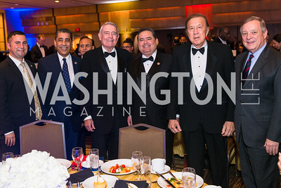 Congressman Darren Soto, Congressman Adriano Espaillat, Dan Rather Roger Rocha, Tom Flores, Senator Dick Durbin. Photo by Alfredo Flores. LULAC 20th Annual LULAC National Legislative Awards Gala. Grand Hyatt. February 15, 2017