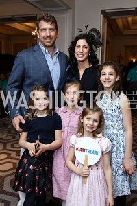 Eleanor Powell, John, Callie, Megan, Ella, and McKayla Paleologos. Photo by Tony Powell. 8th Annual Wacky and Whimsical Tea for THEARC. Ritz Carlton. March 12, 2017