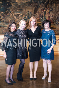 Amy Poster, Michaela Pratt,  Lisa Pitrelli, Amanda Pullinger, Ambassadors for Drug-Free Youth, Mentor Foundation USA, at the Meridian House, November 9, 2017.  Photo by Ben Droz.