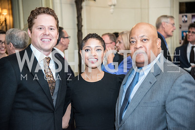 Tim Miller, Lisa Traynham, LaMont Wells, Ambassadors for Drug-Free Youth, Mentor Foundation USA, at the Meridian House, November 9, 2017.  Photo by Ben Droz.