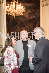 Susan Zaso, Tony Luke, Jr. and Lawrence Poster, Ambassadors for Drug-Free Youth, Mentor Foundation USA, at the Meridian House, November 9, 2017.  Photo by Ben Droz.