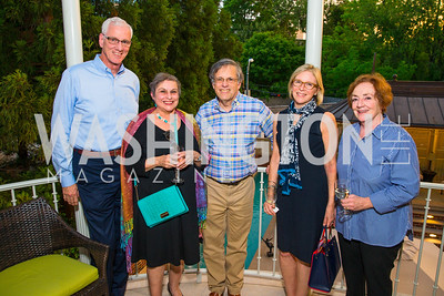 Mike Broyer, Georgia Abraham, Alby Salaman, Patty Broyer, Leslie Salaman. Photo by Alfredo Flores. Book Party for Sidney Blumenthal 2017. Home of John and Christina Ritch. May 18, 2017