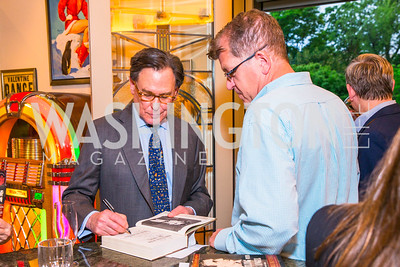 Sidney Blumenthal, Steven Clemons. Photo by Alfredo Flores. Book Party for Sidney Blumenthal 2017. Home of John and Christina Ritch. May 18, 2017
