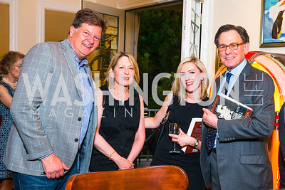 Mark Medish, Linda Drumheller, Livia Drumheller, Sidney Blumenthal. Photo by Alfredo Flores. Book Party for Sidney Blumenthal 2017. Home of John and Christina Ritch. May 18, 2017