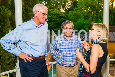 Mike Broyer,  Alby Salaman, Patty Broyer. Photo by Alfredo Flores. Book Party for Sidney Blumenthal 2017. Home of John and Christina Ritch. May 18, 2017