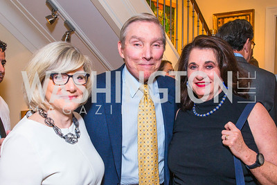 Barbara Cochran, John Cochran, Elaine Shannon. Photo by Alfredo Flores. Book Party for Sidney Blumenthal 2017. Home of John and Christina Ritch. May 18, 2017