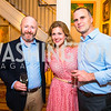 Matt Farrauto, Nina Ritch, Mike Boland. Photo by Alfredo Flores. Book Party for Sidney Blumenthal 2017. Home of John and Christina Ritch. May 18, 2017