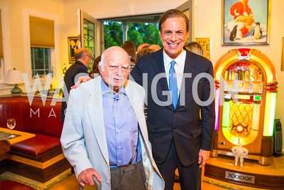 Norman Birnbaum, Michael Beschloss. Photo by Alfredo Flores. Book Party for Sidney Blumenthal 2017. Home of John and Christina Ritch. May 18, 2017