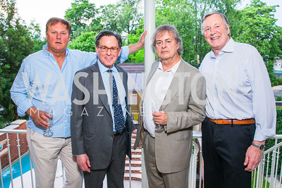 William Drozdiak, Sidney Blumenthal, Andrew Cockburn, John Ritch. Photo by Alfredo Flores. Book Party for Sidney Blumenthal 2017. Home of John and Christina Ritch. May 18, 2017