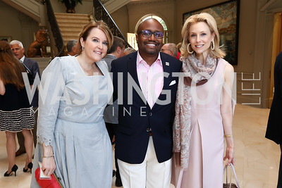 Rachel Pearson, Dr. Aristide Collins, Katherine Bradley. Photo by Tony Powell. Brunch in honor of Thomas LeBlanc. Arsht Residence. September 10, 2017