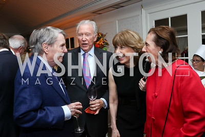 Jim Lehrer, Jim Hoagland, Jane Hitchcock, Ann Jordan. Photo by Tony Powell. Buffy Cafritz Inauguration Party. Hay Adams. October 25, 2017