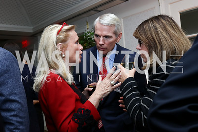 Rep. Debbie Dingell, Sen. Rob Portman, Margaret Carlson. Photo by Tony Powell. Buffy Cafritz Inauguration Party. Hay Adams. October 25, 2017
