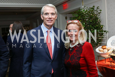 Sen. Rob Portman, Rep. Debbie Dingell. Photo by Tony Powell. Buffy Cafritz Inauguration Party. Hay Adams. October 25, 2017