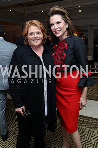 Sen. Heidi Heitkamp, Nancy Brinker. Photo by Tony Powell. Buffy Cafritz Inauguration Party. Hay Adams. October 25, 2017