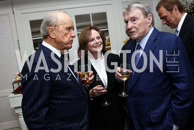 George and Elizabeth Stevens, Jim Lehrer. Photo by Tony Powell. Buffy Cafritz Inauguration Party. Hay Adams. October 25, 2017