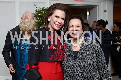Nancy Brinker, Alma Powell. Photo by Tony Powell. Buffy Cafritz Inauguration Party. Hay Adams. October 25, 2017