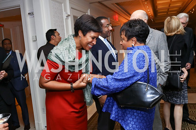 Mayor Muriel Bowser, Librarian of Congress Carla Hayden. Photo by Tony Powell. Buffy Cafritz Inauguration Party. Hay Adams. October 25, 2017