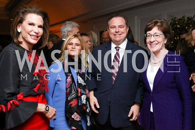 Nancy Brinker, Melissa Maxfield, Chris Ruddy, Sen. Susan Collins. Photo by Tony Powell. Buffy Cafritz Inauguration Party. Hay Adams. October 25, 2017