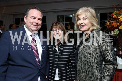 Chris Ruddy, Margaret Carlson, Patricia Harrison. Photo by Tony Powell. Buffy Cafritz Inauguration Party. Hay Adams. October 25, 2017