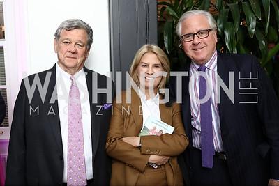 "John Coale and Greta Van Susteren, Howard Fineman. Photo by Tony Powell. ""Sisters First"" Book Party. Jefferson Hotel. October 26, 2017"