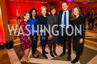 Amy Selco, Parita Shah-Selfridge, Ann Stock, Capricia Marshall, Pete Selfridge, Lee Satterfield. Photo by Alfredo Flores. Chinese Lunar New Year Celebration. Embassy of the People's Republic of China. February 2, 2017