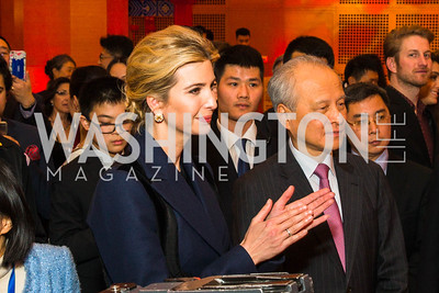 Ivanka Trump, Chinese Ambassador to the United States Cui Tiankai. Photo by Alfredo Flores. Chinese Lunar New Year Celebration. Embassy of the People's Republic of China. February 2, 2017