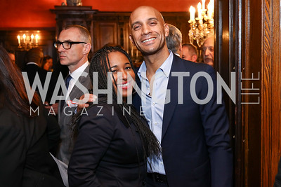Jenell Brown, Former Mayor Adrian Fenty. Photo by Tony Powell. Colombian Embassy Conference of Mayors. January 18, 2017