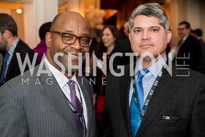 Alonzo Byrd, Jacques Roy. Photo by Tony Powell. Colombian Embassy Conference of Mayors. January 18, 2017