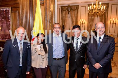 Guillermo Pinzón, Emilsen Angulo, Henry Devia Prado, Jose Toro, Juan Manuel Luna. Photo by Tony Powell. Colombian Embassy Conference of Mayors. January 18, 2017