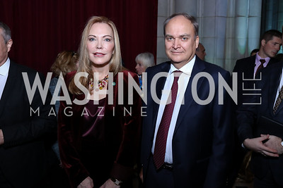 Susan Lehrman, Russia Amb. Anatoly Antonov. Photo by Tony Powell. 2017 Concert for Unity. National Cathedral. November 13, 2017