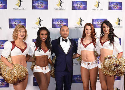 Redskins Cheerleaders Ashley M, Taryn, Katy L. & Joanne with Roddy Toms.November 11, 2017. DC's Dancing Stars Gala. Amanda Warden.