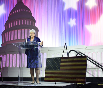 Martha-Ann Alito presenting ORHF Patriot Award. November 11, 2017. DC's Dancing Stars Gala. Amanda Warden.