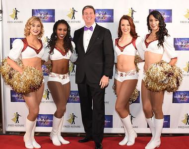 Redskins Cheerleaders Ashley M, Taryn, Katy L. & Joanne with Jim David. November 11, 2017. DC's Dancing Stars Gala. Amanda Warden.