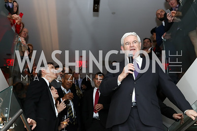 Stefan Passantino, Newt Gingrich. Photo by Tony Powell. Dentons Inaugural Cocktail Party. The Source. January 19, 2017