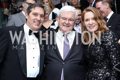 Stefan Passantino, Newt Gingrich, Kathleen Passantino. Photo by Tony Powell. Dentons Inaugural Cocktail Party. The Source. January 19, 2017