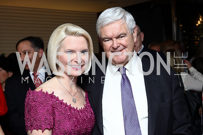 Callista and Newt Gingrich. Photo by Tony Powell. Dentons Inaugural Cocktail Party. The Source. January 19, 2017