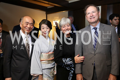 Japan Amb. Kenichiro Sasae and Nobuko Sasae, Martha Ann Alito and Justice Samuel Alito. Photo by Tony Powell. Emperor of Japan Birthday Celebration. Residence of Japan. December 12, 2017