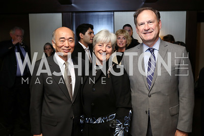 Japan Amb. Kenichiro Sasae, Martha Ann Alito and Justice Samuel Alito. Photo by Tony Powell. Emperor of Japan Birthday Celebration. Residence of Japan. December 12, 2017