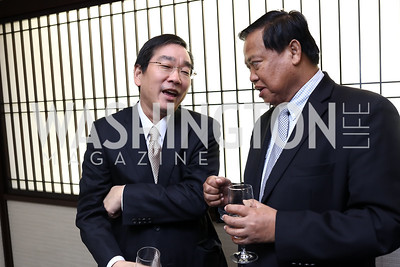 Takuya Sasayama, Cambodia Amb. Chum Bunrong. Photo by Tony Powell. Emperor of Japan Birthday Celebration. Residence of Japan. December 12, 2017