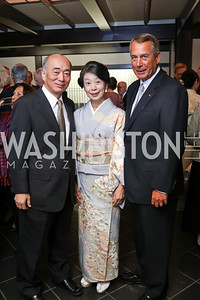 Japan Amb.  Kenichiro Sasae, Nobuko Sasae, Speaker John Boehner. Photo by Tony Powell. Emperor of Japan Birthday Celebration. Residence of Japan. December 12, 2017