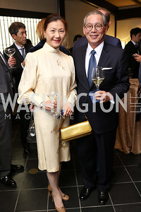 Sherry Kao and Taiwan Amb. Stanley Kao. Photo by Tony Powell. Emperor of Japan Birthday Celebration. Residence of Japan. December 12, 2017